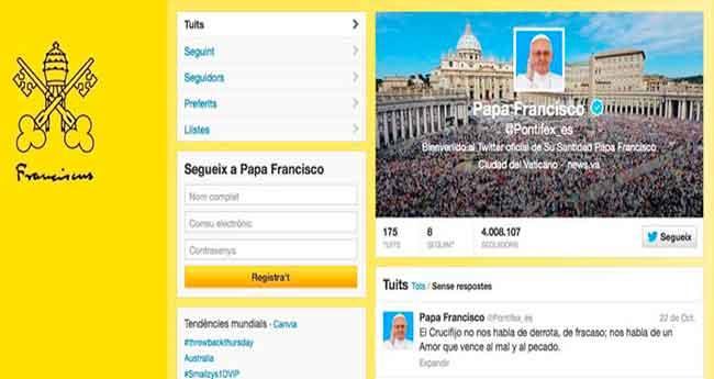 El Papa s´aproxima als 10 milions de seguidors a Twitter